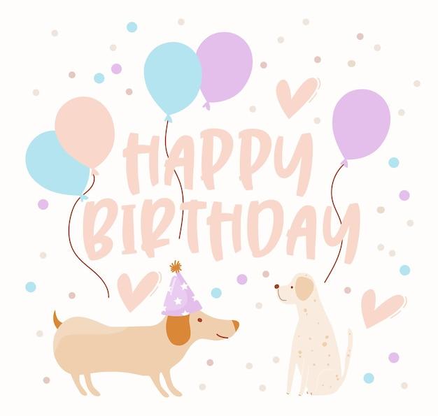 Tarjeta de feliz cumpleaños con perros