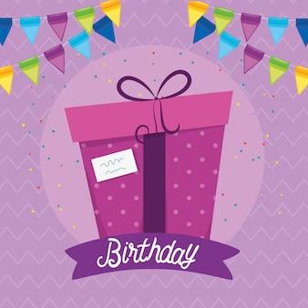 Tarjeta de feliz cumpleaños con regalo y decoración de fiesta