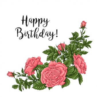Tarjeta de feliz cumpleaños con rosas de coral. dibujo a mano ilustración vectorial