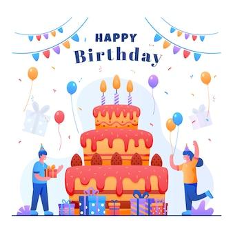 Tarjeta del feliz cumpleaños con tarta de cumpleaños gigante