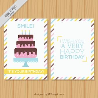 Tarjeta de feliz cumpleaños con tarta en diseño plano