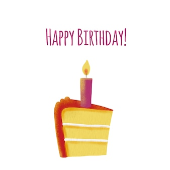 Tarjeta de feliz cumpleaños con torta y vela