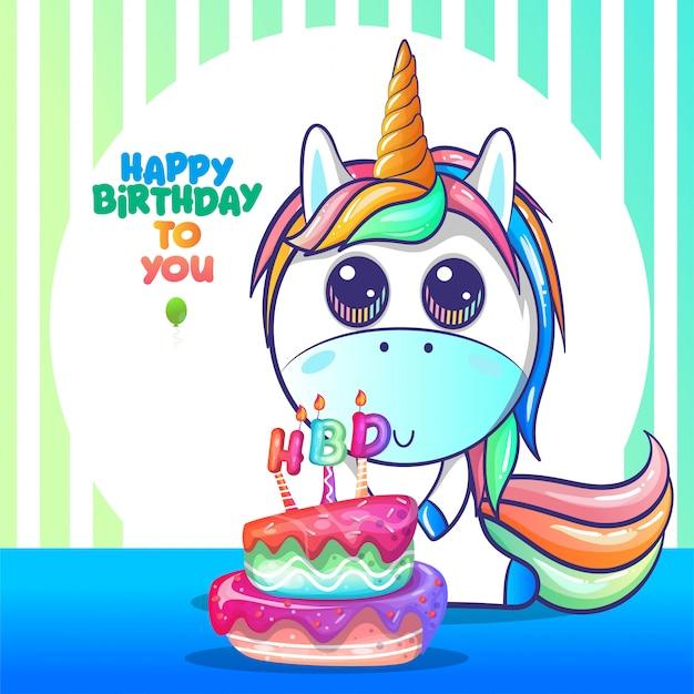 Tarjeta de feliz cumpleaños con unicornio lindo