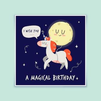 Tarjeta de feliz cumpleaños unicornio y luna