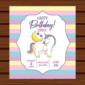 Tarjeta de feliz cumpleaños con unicornio