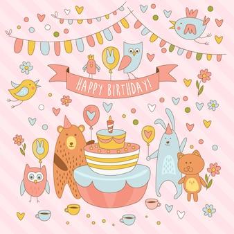 Tarjeta de feliz cumpleaños vacaciones con lindos animales, oso, conejo, búho y el minino. divirtiéndose
