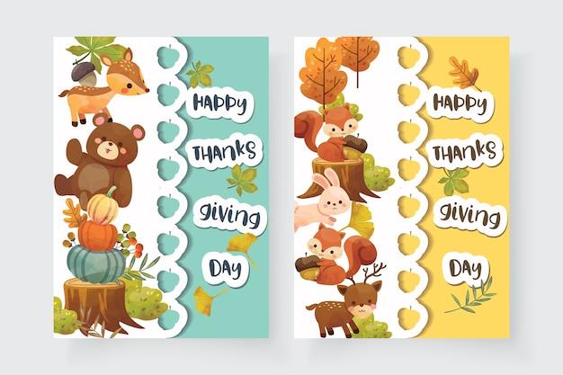 Tarjeta de feliz día de acción de gracias con ardilla, oso, conejo y ciervo.