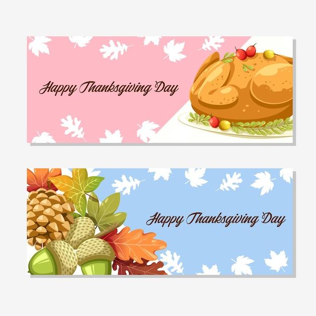 Tarjeta de feliz día de acción de gracias con calabaza, manzana, maíz y hojas de arce