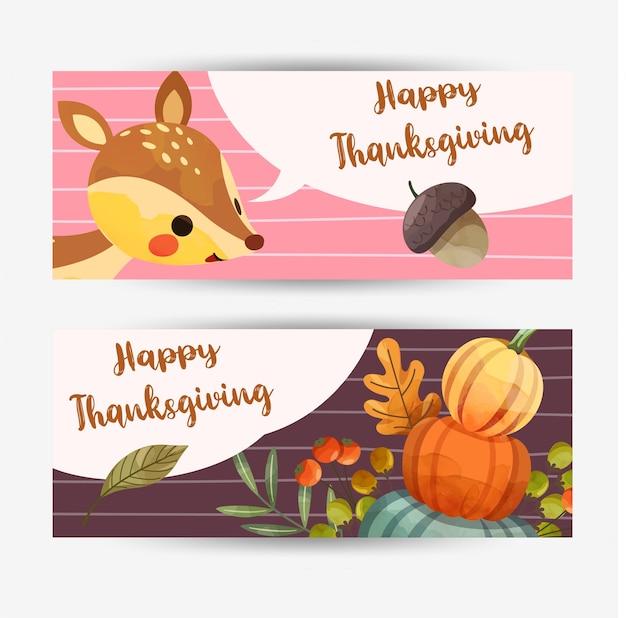 Tarjeta de feliz día de acción de gracias con ciervos, nueces, calabaza y hojas