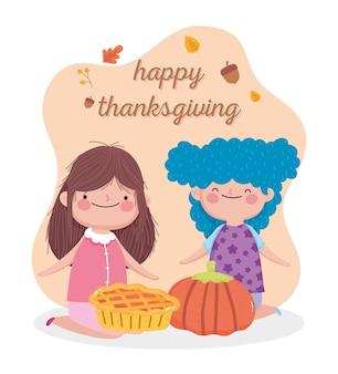 Tarjeta de feliz día de acción de gracias con lindas niñas con pastel y calabaza