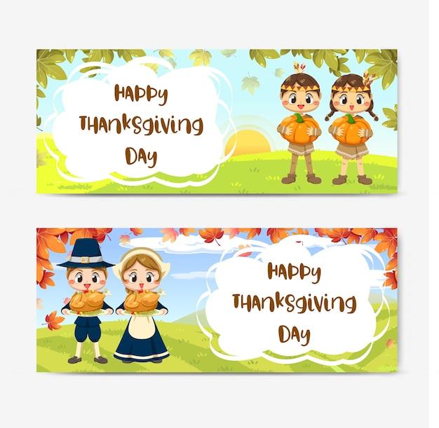 Tarjeta de feliz día de acción de gracias con niña, hoja de arce y calabaza.
