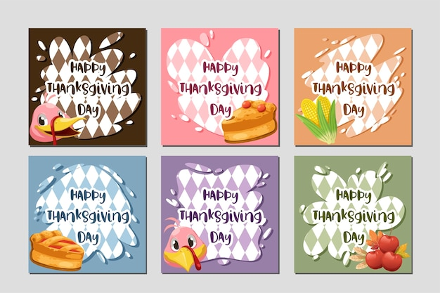 Tarjeta de feliz día de acción de gracias con pavo, calabaza y pastel.