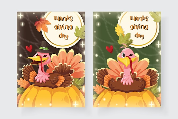 Tarjeta de feliz día de acción de gracias con turquía sentado en una calabaza.