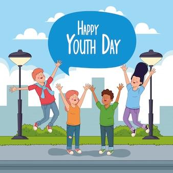 Tarjeta feliz del día de la juventud con dibujos animados de adolescentes