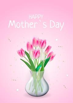 Tarjeta del feliz día de la madre con flores de tulipán realistas.