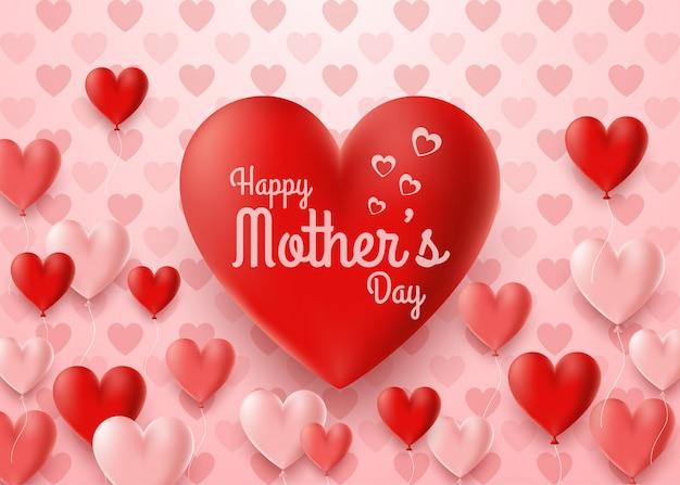 Tarjeta feliz del día de madre con el fondo del globo de los corazones