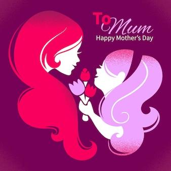 Tarjeta de feliz día de la madre. silueta de hermosa madre con su hija y flores