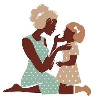 Tarjeta de feliz día de la madre. silueta de hermosa madre con su hija
