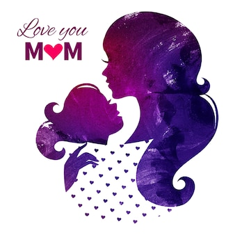 Tarjeta de feliz día de las madres. silueta de hermosa madre con su hija. ilustración de vector de acuarela