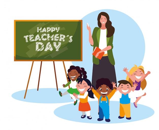 Tarjeta de feliz día con maestra mujer y estudiantes