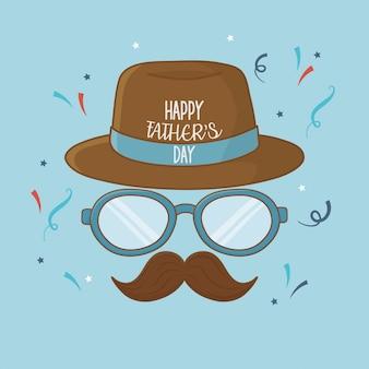 Tarjeta de feliz día del padre con bigote y gafas
