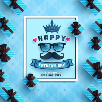 Tarjeta feliz del día del padre con caja de regalo sobre fondo azul.