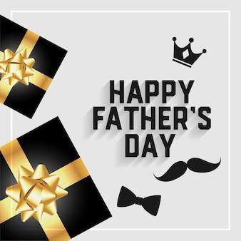 Tarjeta del feliz día del padre con cajas de regalo