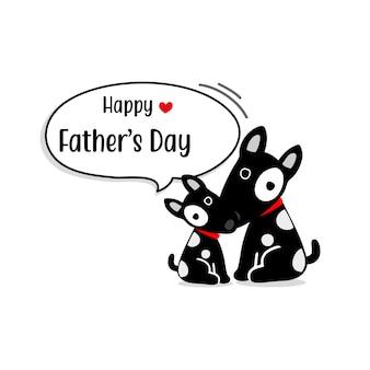 Tarjeta feliz del día de padre con los caracteres lindos del perro.