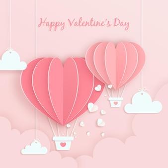 Tarjeta de feliz día de san valentín con corazón de globo aerostático de san valentín en estilo de papel