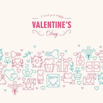 Tarjeta de feliz día de san valentín con deseos de ser feliz y muchos símbolos de color rosa y verde como corazón, cinta, sobre, ilustración