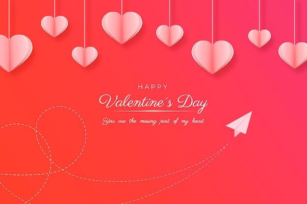 Tarjeta de feliz día de san valentín en estilo papel
