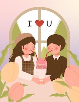 Tarjeta de feliz día de san valentín con linda pareja en una cita en la ilustración de vector de café