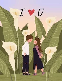 Tarjeta de feliz día de san valentín con linda pareja en la ilustración de campo de lirio de cala