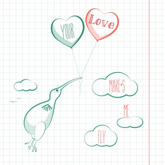 Tarjeta de feliz día de san valentín con pájaro kivi