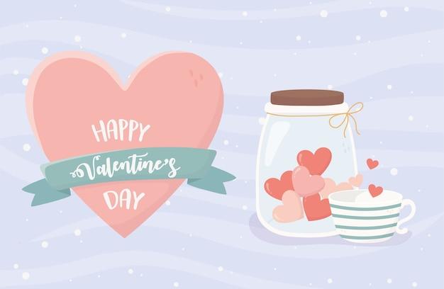 Tarjeta de feliz día de san valentín con tarro con taza de café de corazones