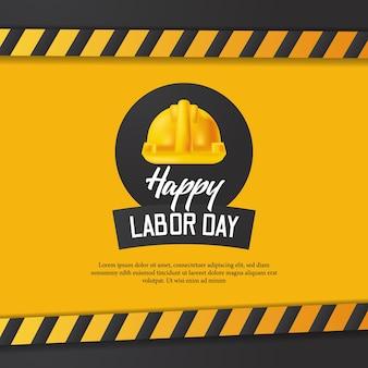 Tarjeta de feliz día del trabajo con construcción de línea amarilla y casco de seguridad realista 3d con fondo amarillo.