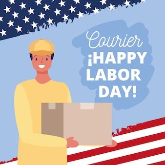 Tarjeta de feliz día del trabajo con ilustración de dibujos animados de mensajería