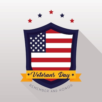 Tarjeta feliz del día de los veteranos con la bandera de estados unidos en la ilustración del escudo