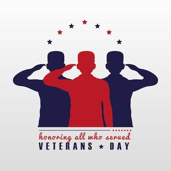 Tarjeta feliz del día de los veteranos con la ilustración de siluetas de soldados saludando