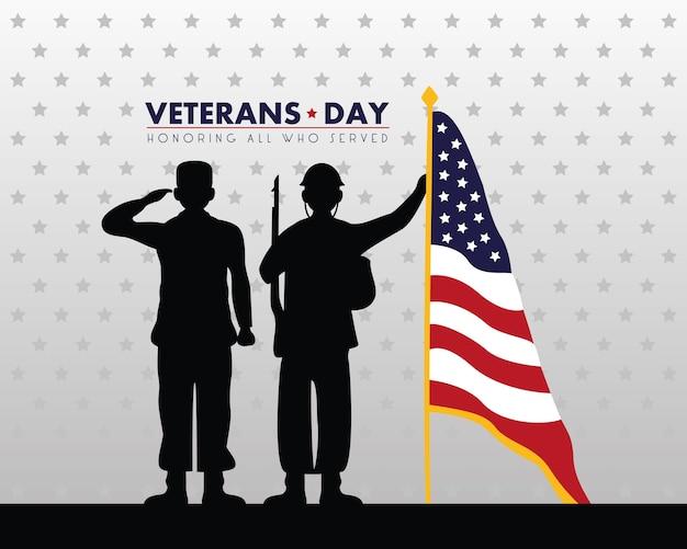 Tarjeta feliz del día de los veteranos con siluetas de soldados saludando y bandera en la ilustración del poste
