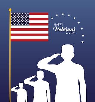 Tarjeta feliz del día de los veteranos con siluetas de soldados saludando y la ilustración de la bandera