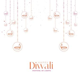 Tarjeta de feliz festival de diwali con diyas decorativas