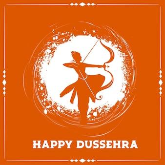 Tarjeta de feliz festival de dussehra con silueta de señor rama