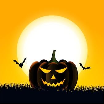 Tarjeta de feliz halloween con calabaza aterradora y murciélagos