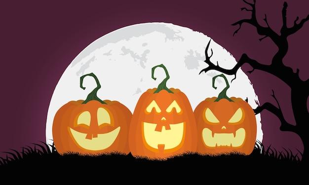 Tarjeta de feliz halloween con calabazas y luna, diseño de ilustraciones vectoriales