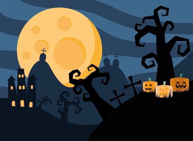 Tarjeta de feliz halloween con castillo en cementerio oscuro, diseño de ilustraciones vectoriales