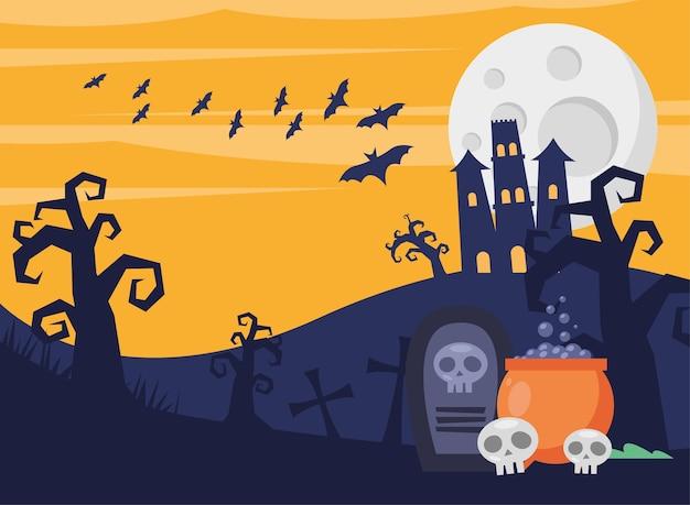 Tarjeta de feliz halloween con castillo embrujado y caldero en el cementerio, diseño de ilustraciones vectoriales