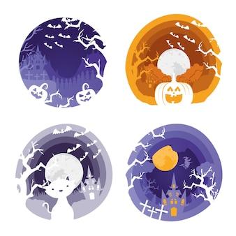 Tarjeta de feliz halloween con cuatro escenas, diseño de ilustraciones vectoriales