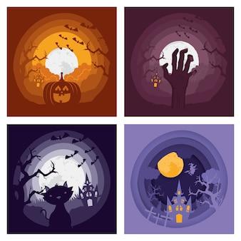 Tarjeta de feliz halloween con cuatro escenas oscuras, diseño de ilustraciones vectoriales