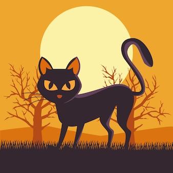 Tarjeta de feliz halloween con escena de gato negro